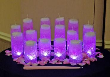 pink illuminated gel candles