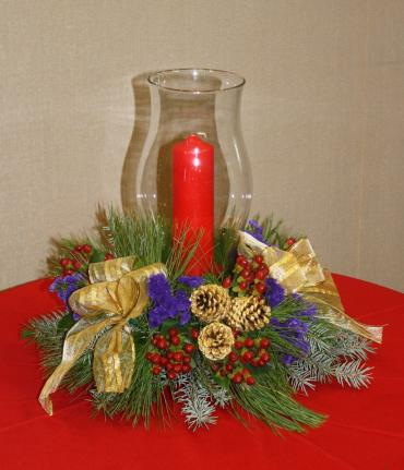 Country Christmas Hurricane centerpiece