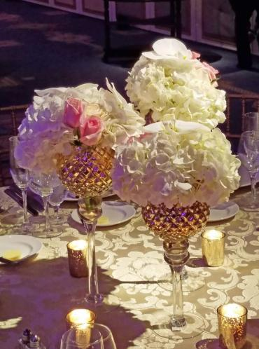 Golden Goblets centerpiece