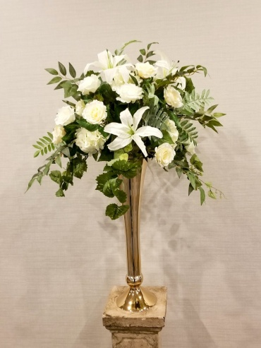 White with Foliage Elevated Centerpiece