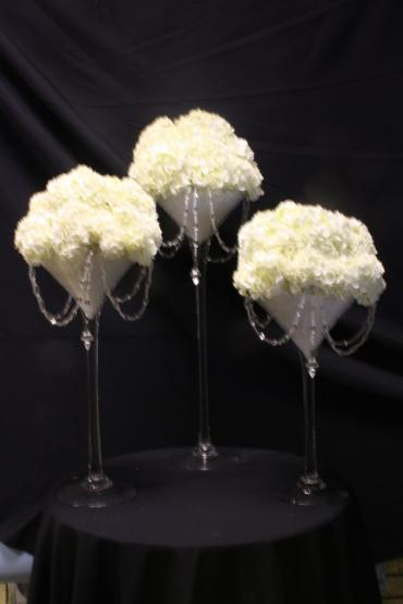 Jeweled Hydrangeas elevated centerpiece